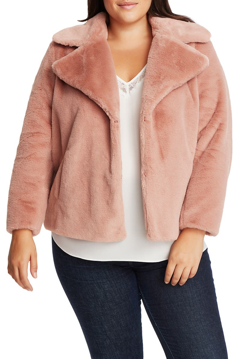 1.STATE Faux Mink Wide Collar Jacket, Main, color, BLUSH