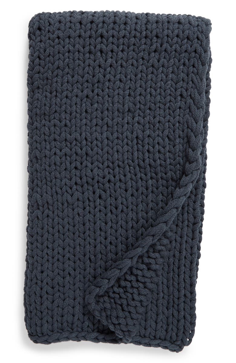 TREASURE & BOND Jersey Rope Throw Blanket, Main, color, NAVY MIDNIGHT