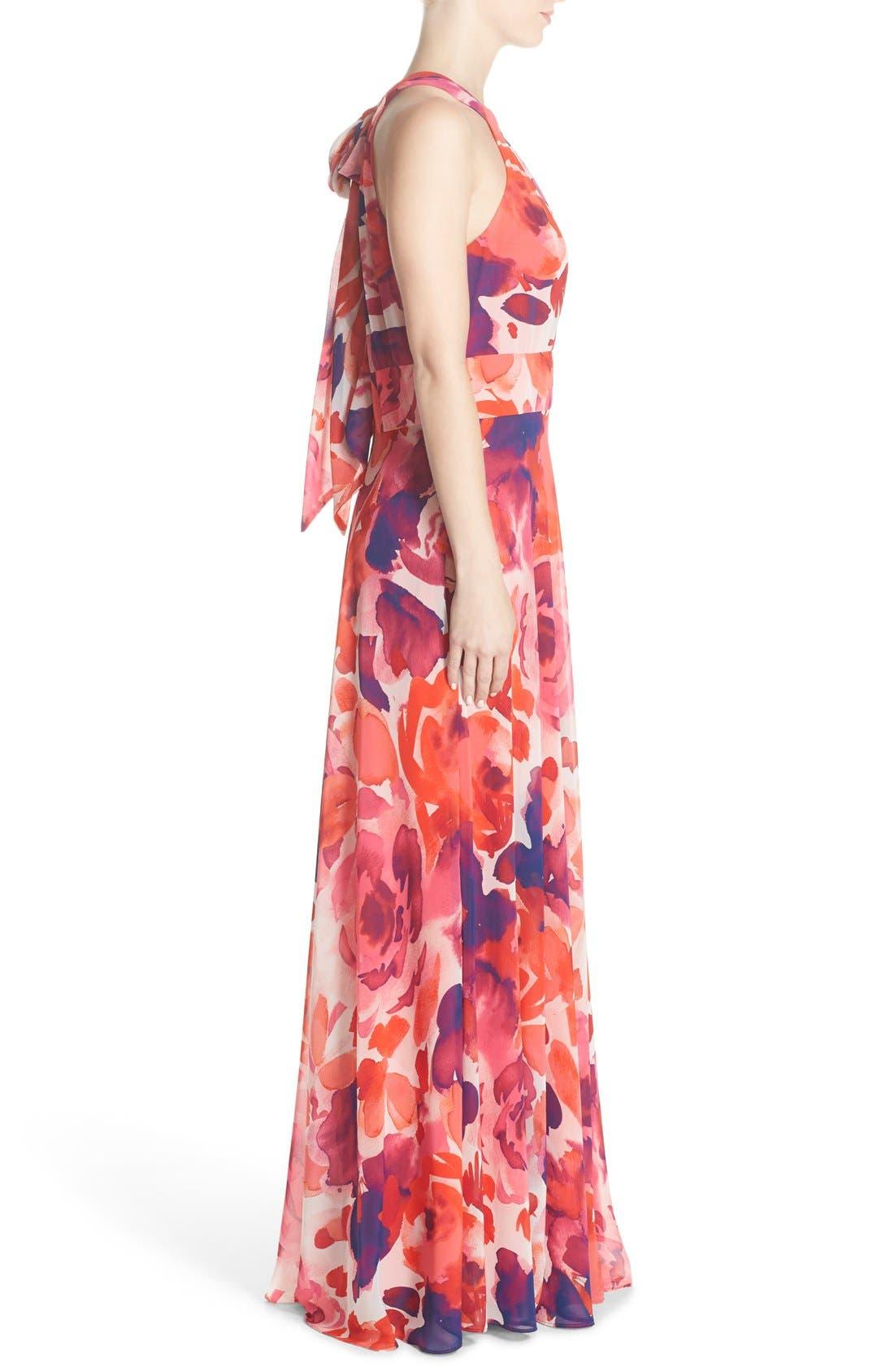 ,                             Floral Print Halter Maxi Dress,                             Alternate thumbnail 5, color,                             PINK/ CORAL/ PURPLE