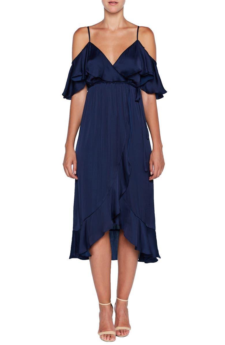BARDOT Bea Cold Shoulder Ruffle Dress, Main, color, FRENCH NAVY