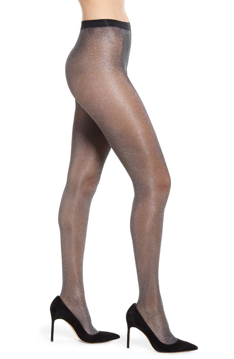 FALKE High Shine Tights, Main, color, 3103 BLK/ SILVER