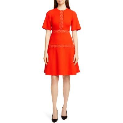 Lela Rose Wave Trim Inset Wool Blend A-Line Dress, Red