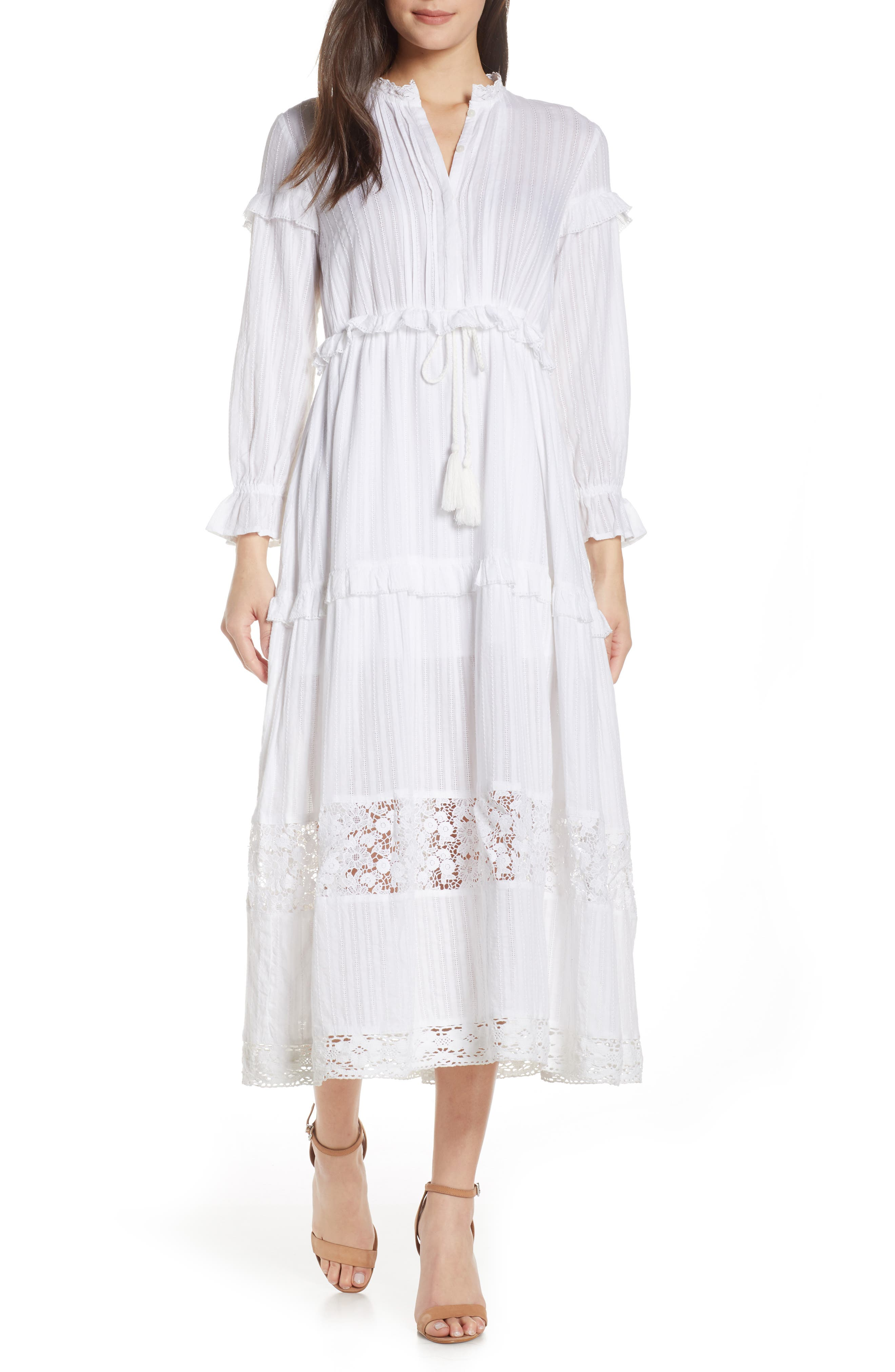 French Connection Coletta Ruffle Maxi Dress, White