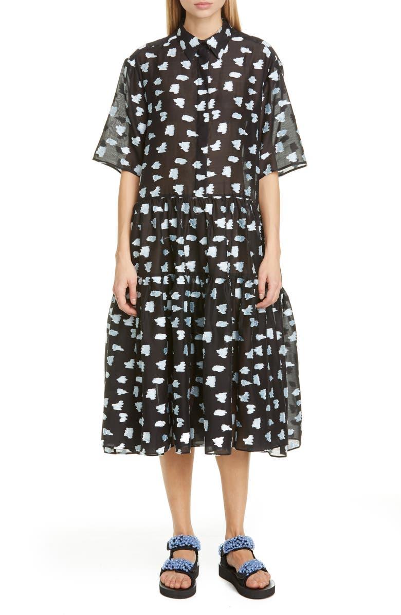 CECILIE BAHNSEN Rose Fil Coupé Midi Shirtdress, Main, color, BLACK/ BLUE