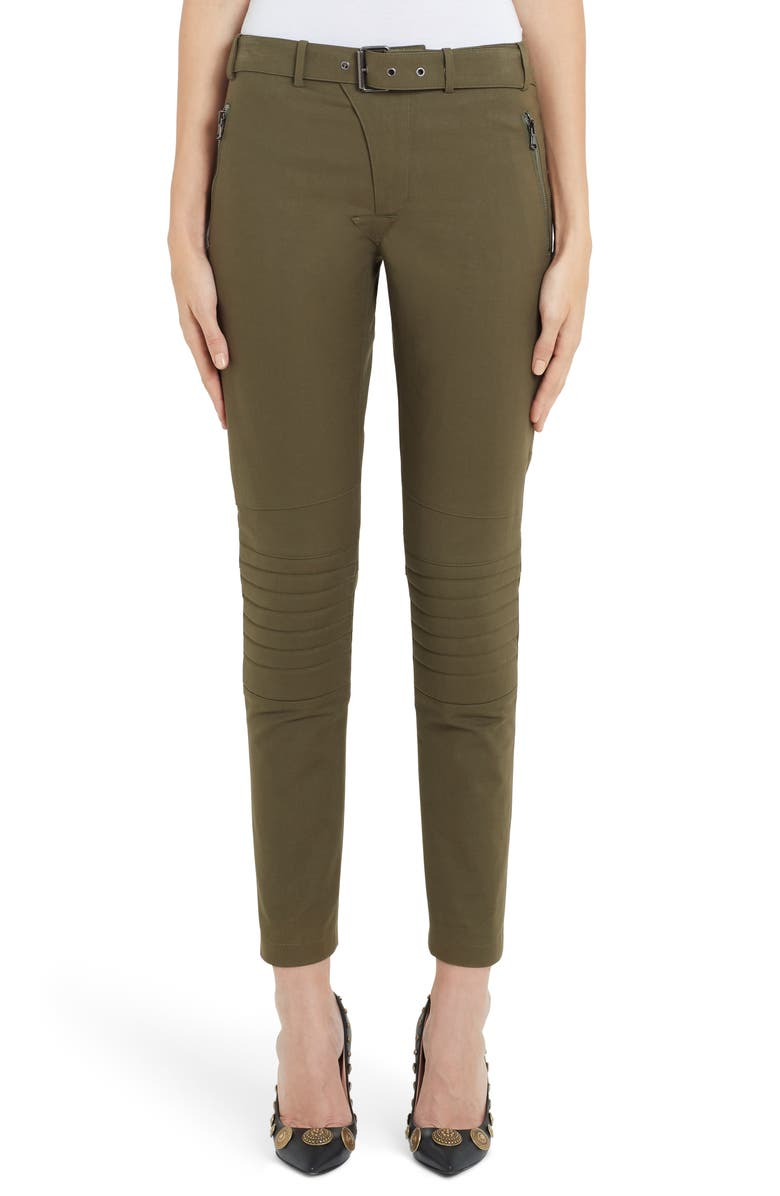 MOSCHINO Zip Detail Skinny Moto Pants, Main, color, GREEN