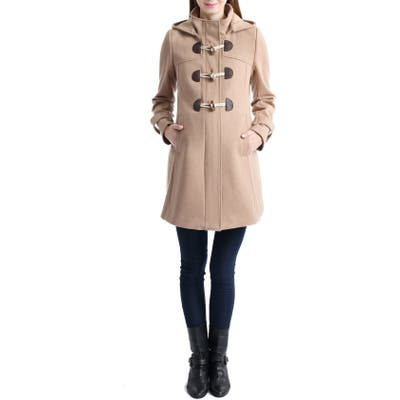 Kimi And Kai Paisley Wool Blend Maternity Duffle Coat, Beige