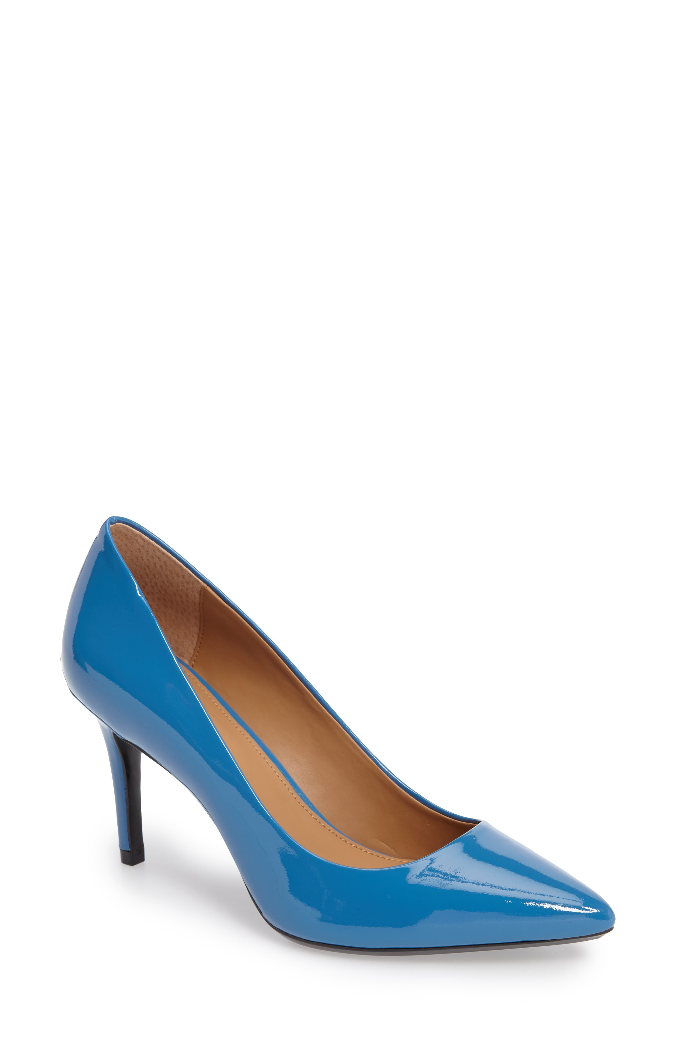 Image of Calvin Klein Gayle Leather Pump - Wide Width Available