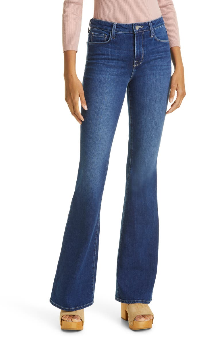 L'AGENCE Bell High Waist Flare Jeans, Main, color, DELTA