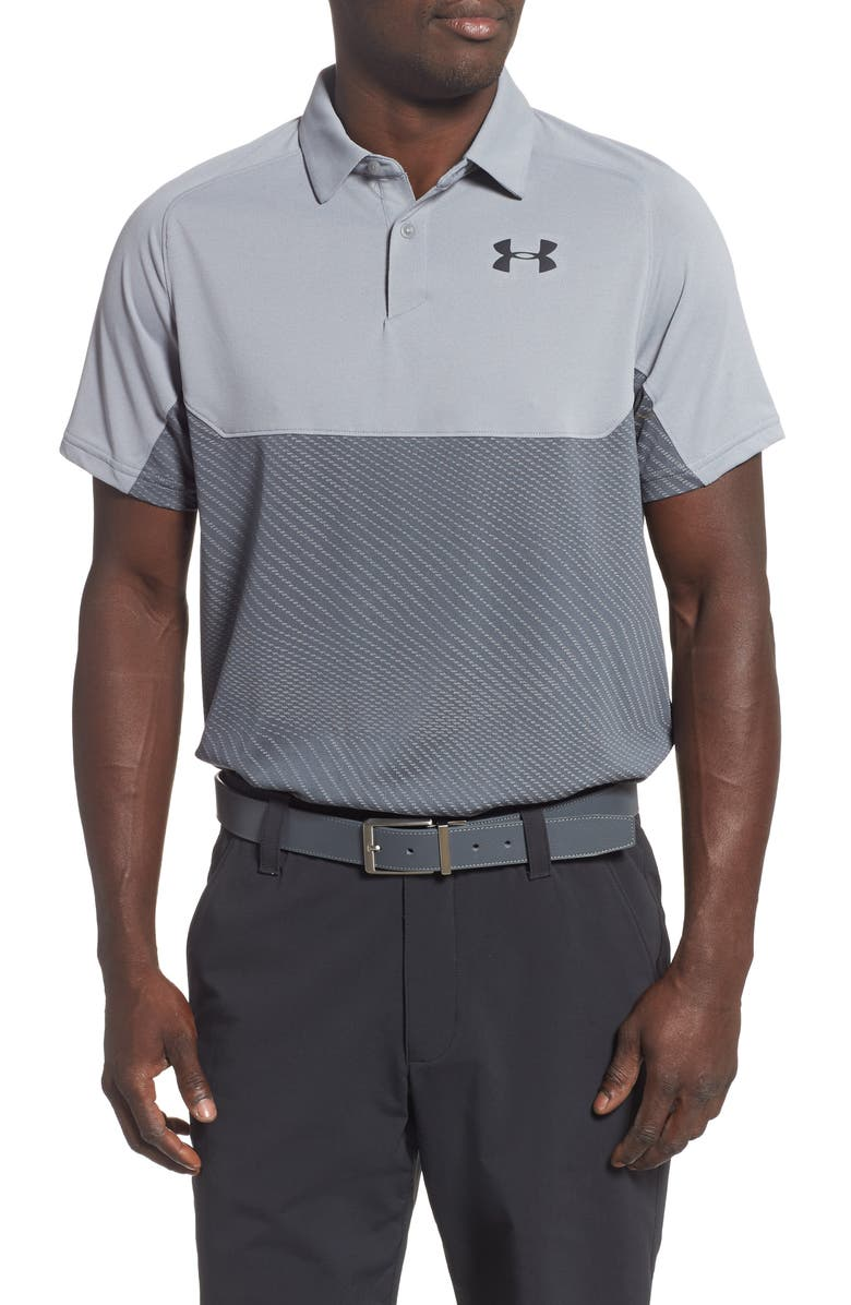 UNDER ARMOUR Tour Tips Colorblock Polo, Main, color, STEEL/ PITCH GREY/ BLACK