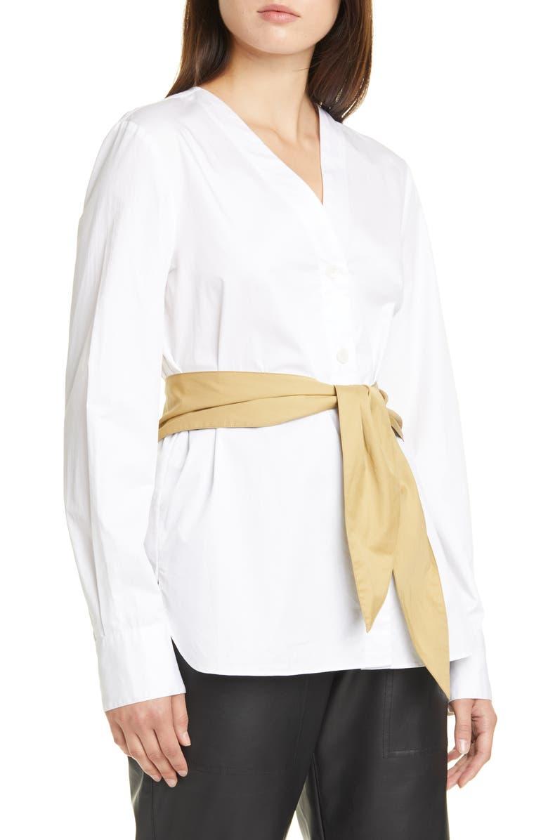 TIBI Cotton Poplin Shirt with Tie Belt, Main, color, WHITE MULTI