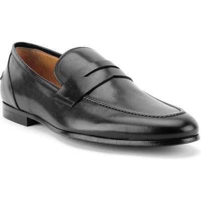Gordon Rush Coleman Apron Toe Penny Loafer, Black