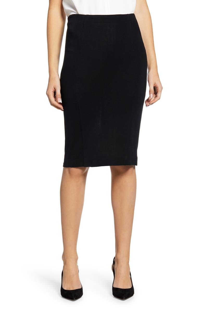 MING WANG Knit Pencil Skirt, Main, color, BLACK