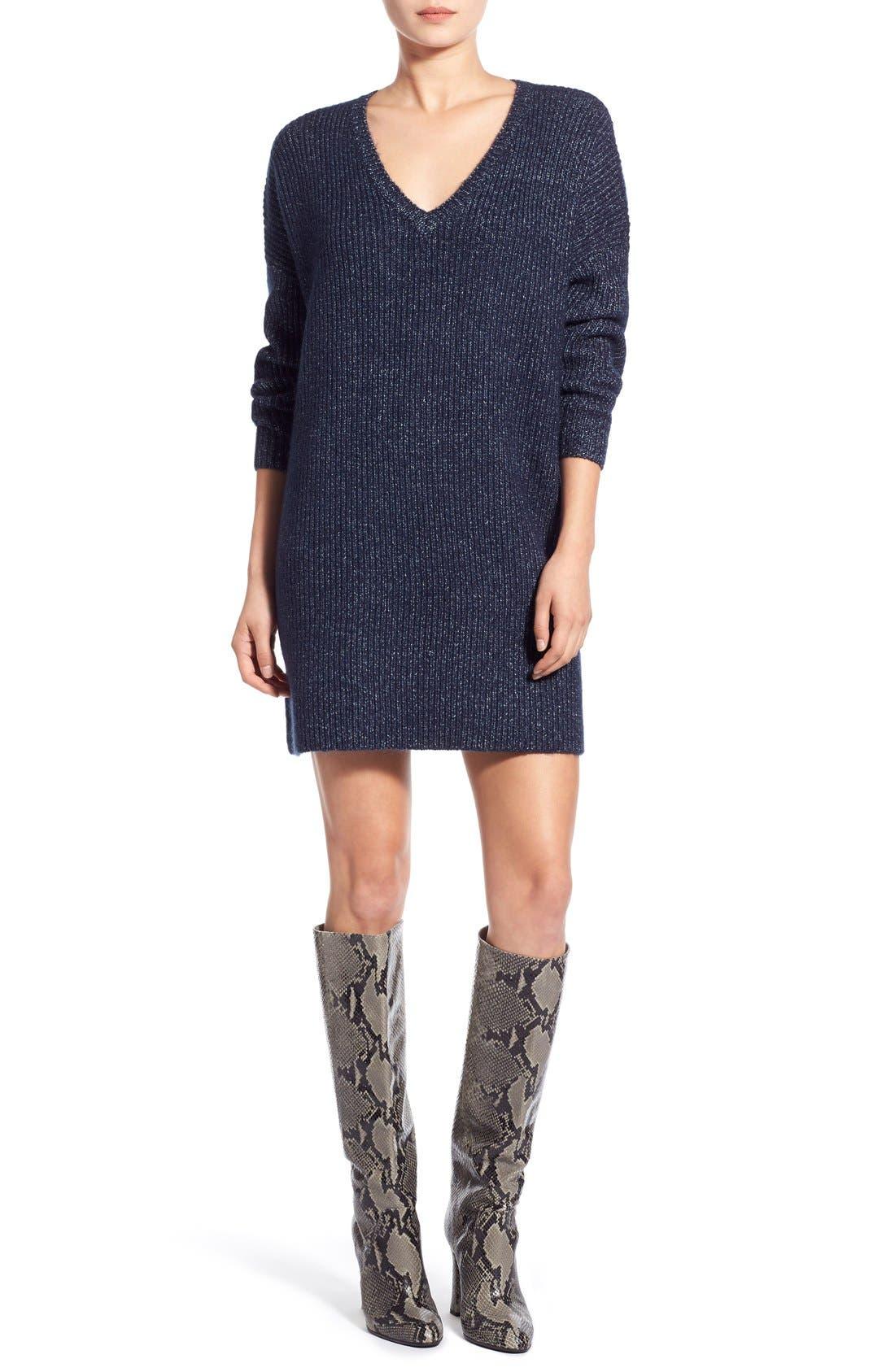 V-Neck Sweater Minidress, Main, color, 461