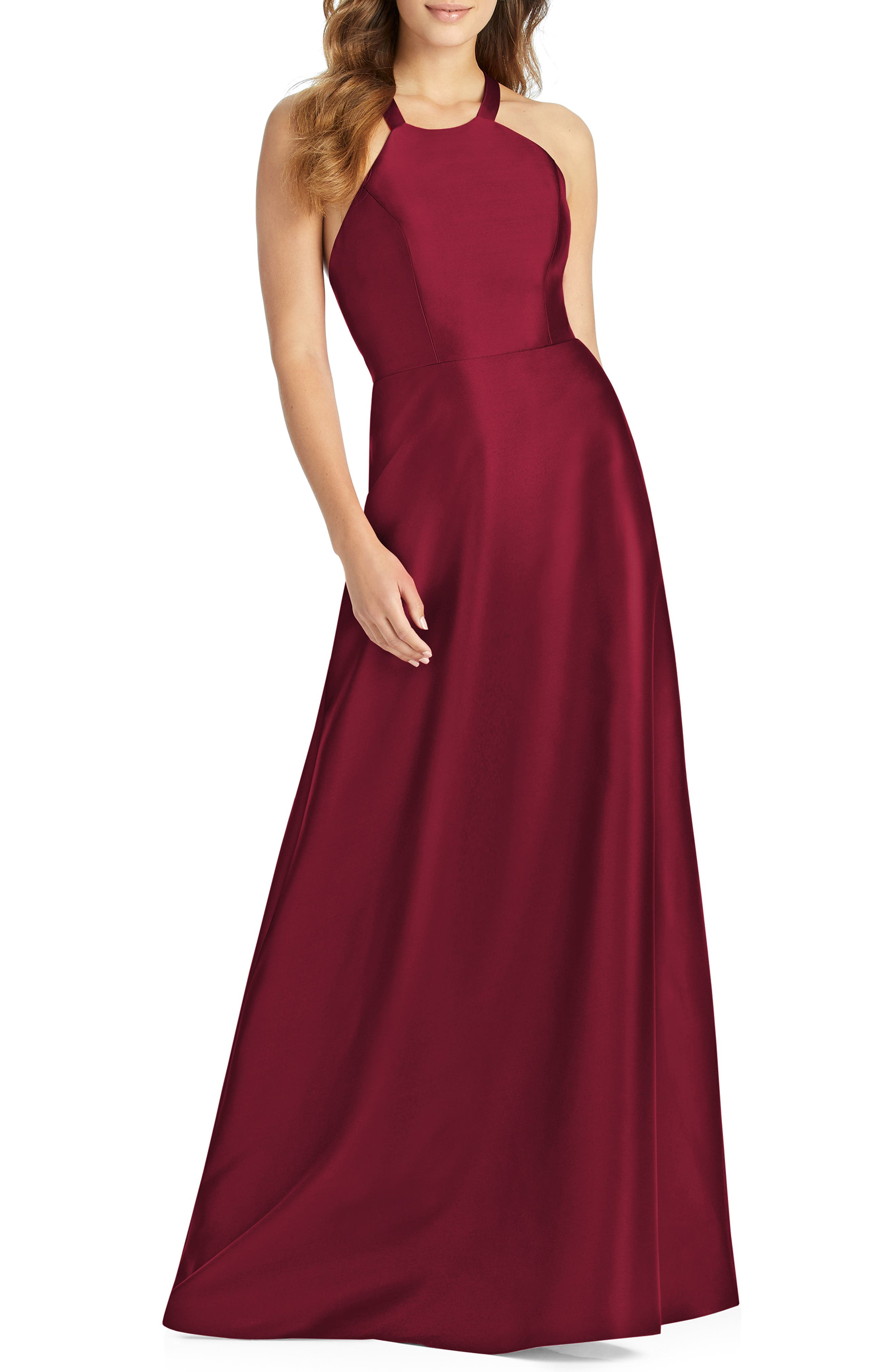 Alfred Sung Lace-Up Back Sateen Twill Gown, Burgundy