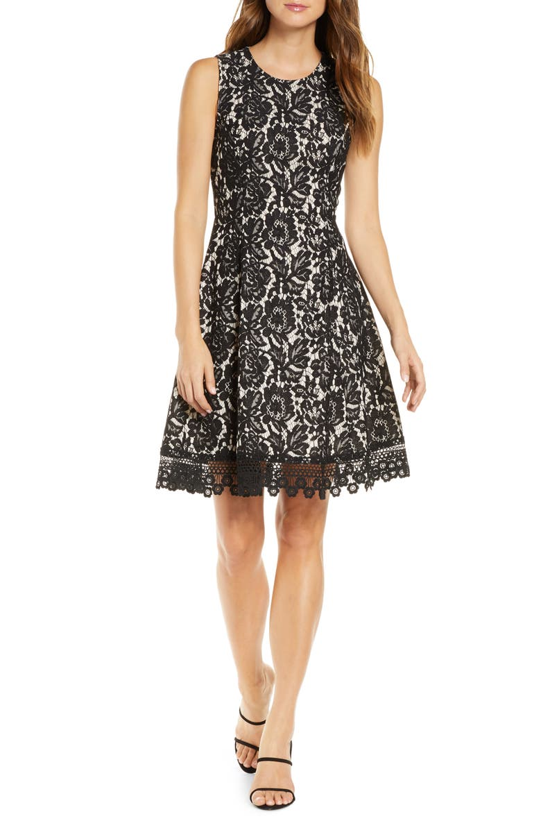 DONNA RICCO Bonded Floral Lace Sleeveless Fit & Flare Dress, Main, color, 001