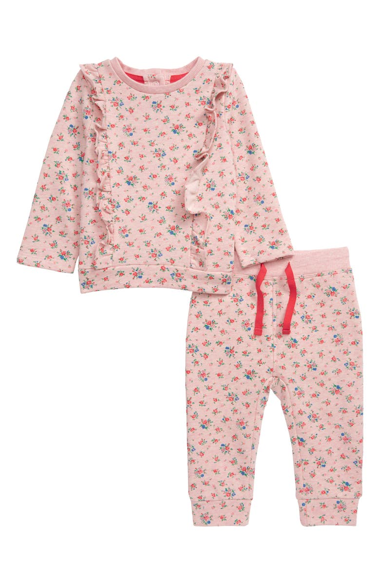 MINI BODEN Ruffle Floral Play Top & Pants Set, Main, color, PINK MARL/ VINTAGE ROSE