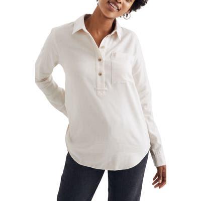 Madewell Flannel Classic Ex-Boyfriend Popover Shirt, Beige