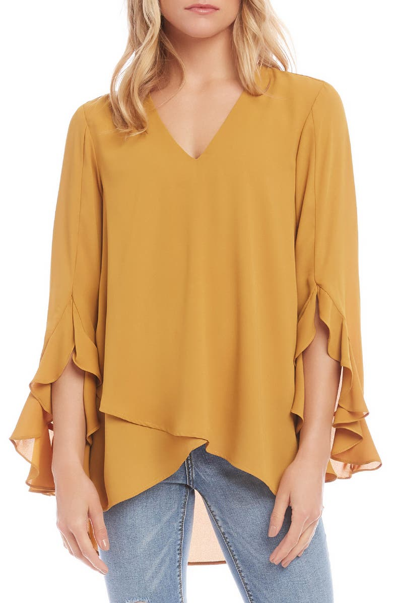 KAREN KANE Ruffle Sleeve Crossover Top, Main, color, MUSTARD