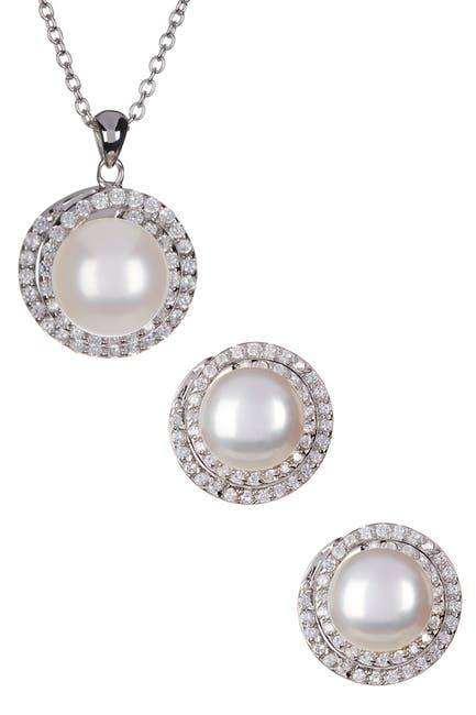 Image of Splendid Pearls 8.5-9mm Cultured Freshwater Pearl Double Halo Pendant Necklace & Earrings Set