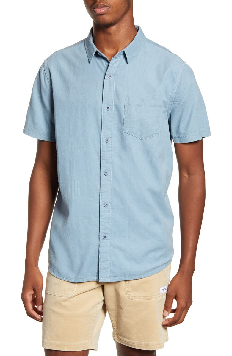 BANKS JOURNAL Roy Short Sleeve Button-Up Corduroy Shirt, Main, color, DUST BLUE