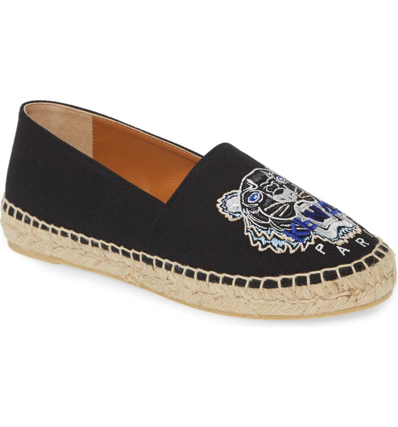 KENZO White Tiger Embroidered Espadrille, Main, color, BLACK