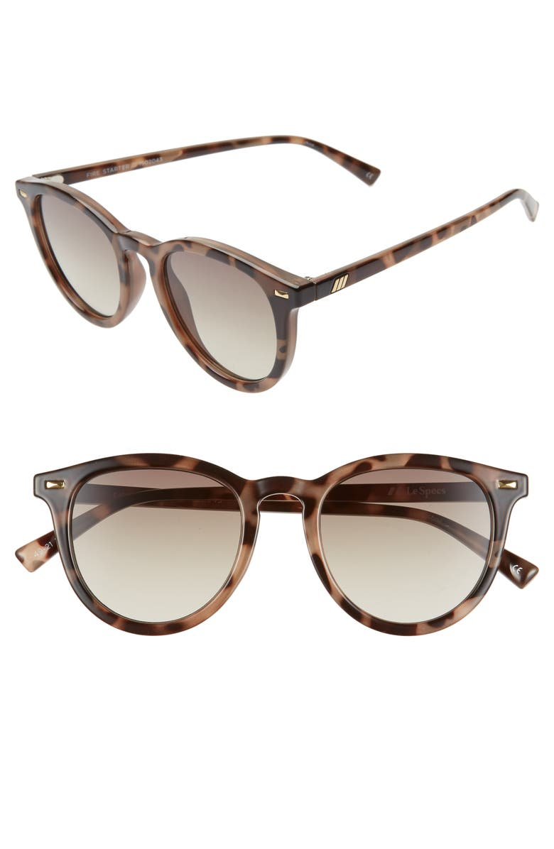 LE SPECS Fire Starter 49mm Round Sunglasses, Main, color, VOLCANIC TORTOISE