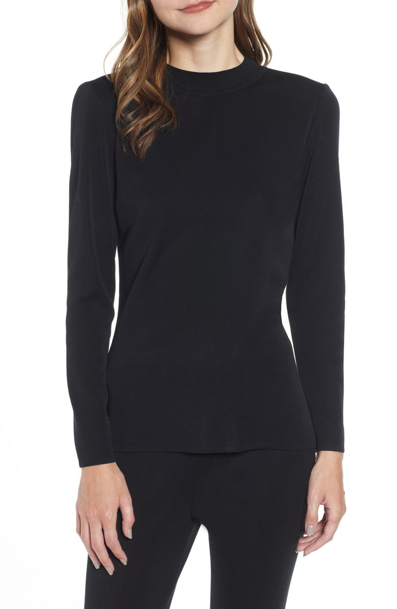 MING WANG Tunic Sweater, Main, color, BLACK