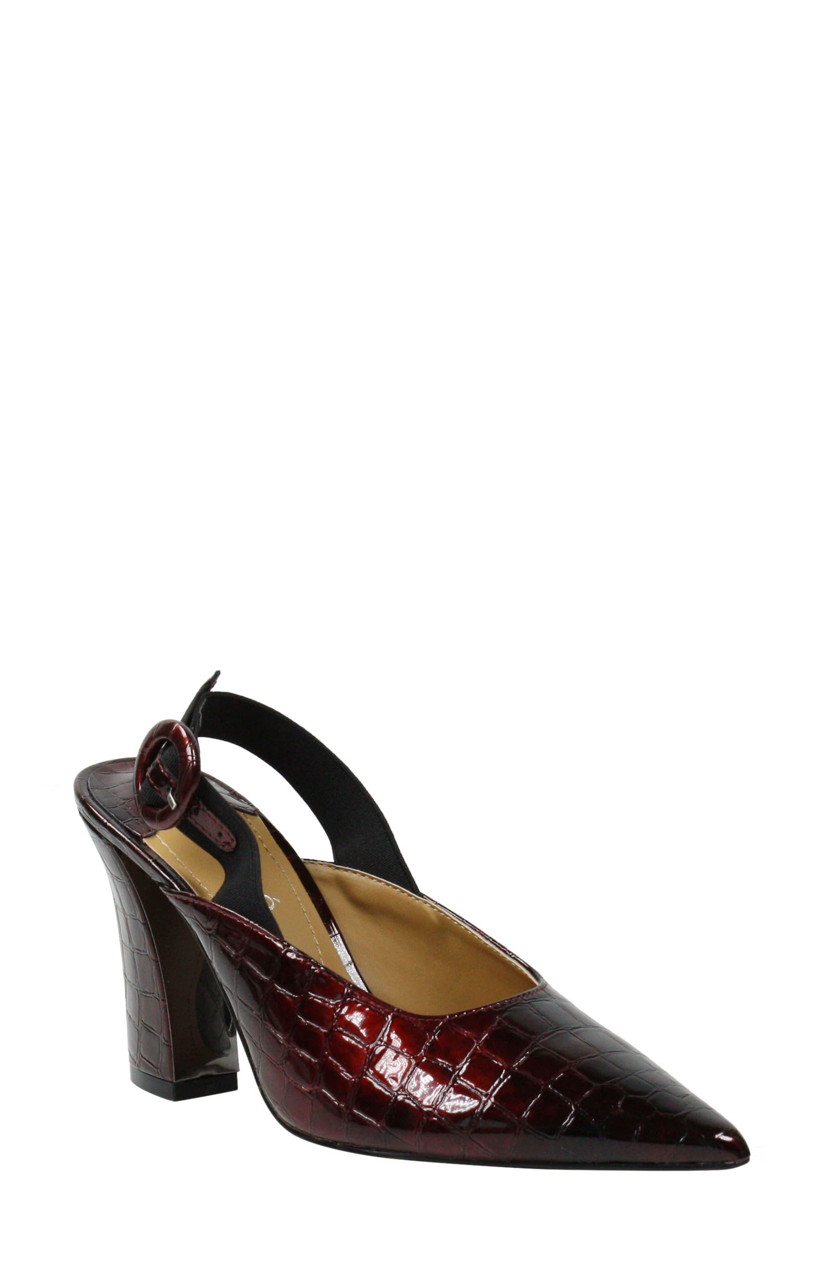 Image of J. Renee Marianela Croc Embossed Pointed Toe Pump - Wide Width Available