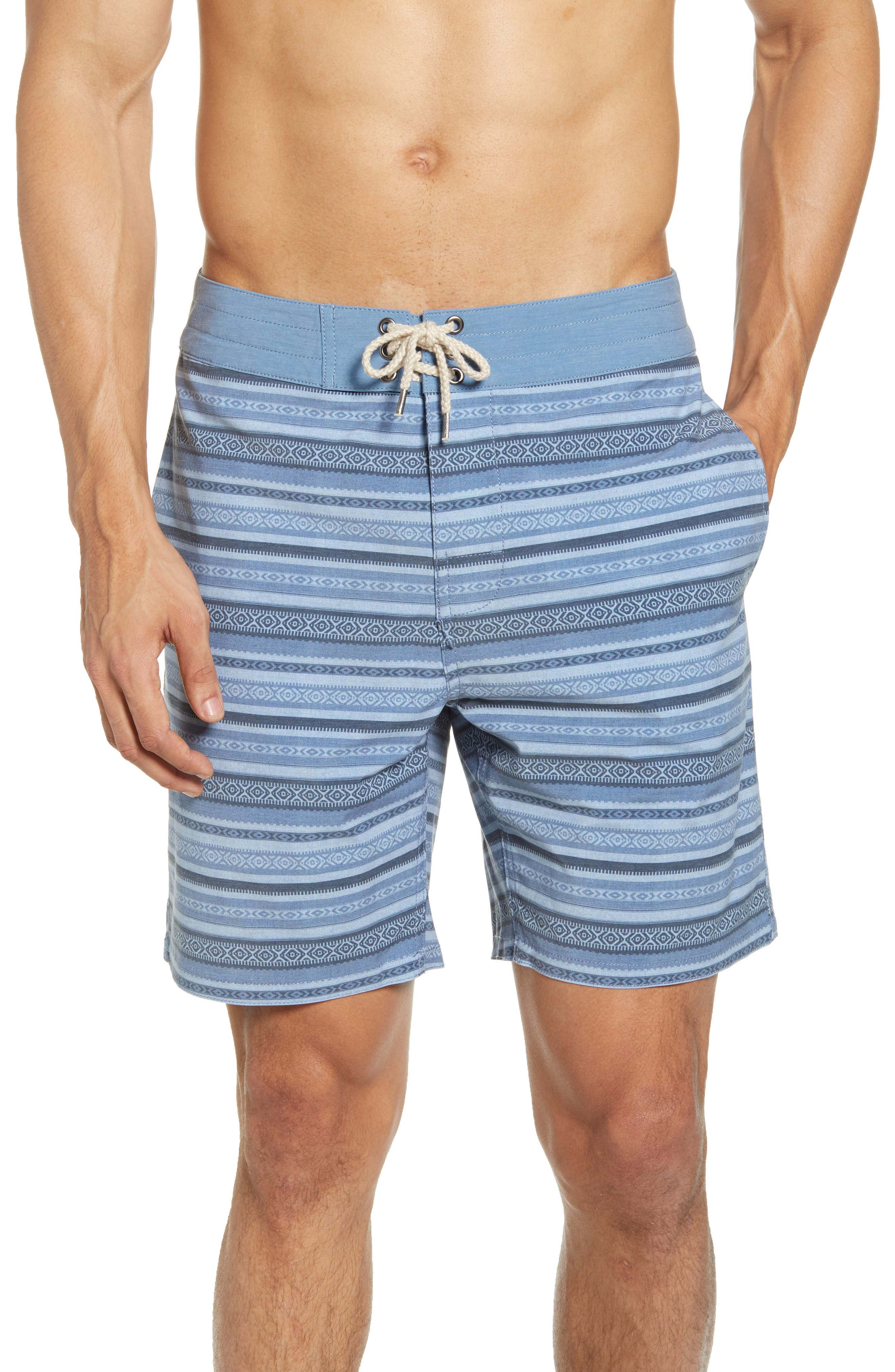 A touch of stretch ensures a stay-put fit no matter how you move in these board shorts crafted with recycled polyester and finished with a back zip pocket. Style Name: Faherty Classic Board Shorts. Style Number: 6015700. Available in stores.