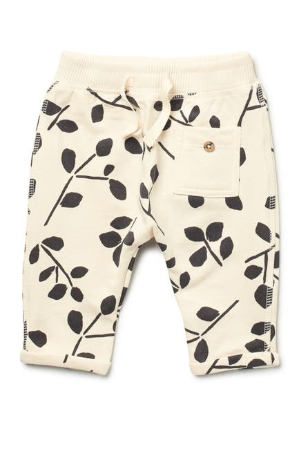 Image of Oliver and Rain Ivory Charcoal Leaf Printed Joggers