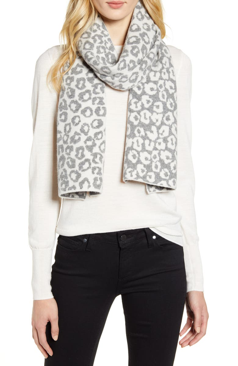 HALOGEN<SUP>®</SUP> Leopard Jacquard Wool & Cashmere Scarf, Main, color, GREY LIGHT HEATHER COMBO