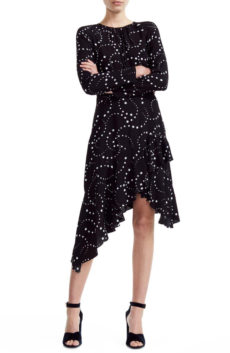 MAJE Retoile Star Print Asymmetrical Long Sleeve Dress, Main, color, BLACK