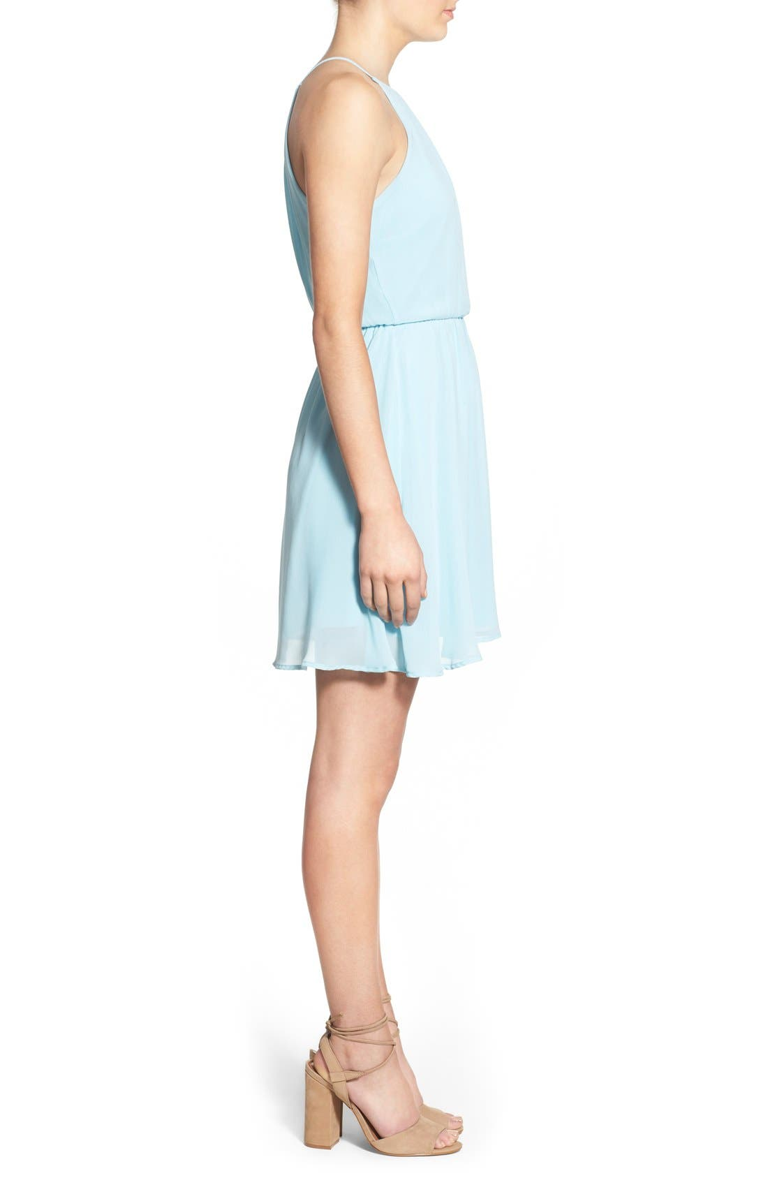 ,                             Blouson Chiffon Skater Dress,                             Alternate thumbnail 157, color,                             450