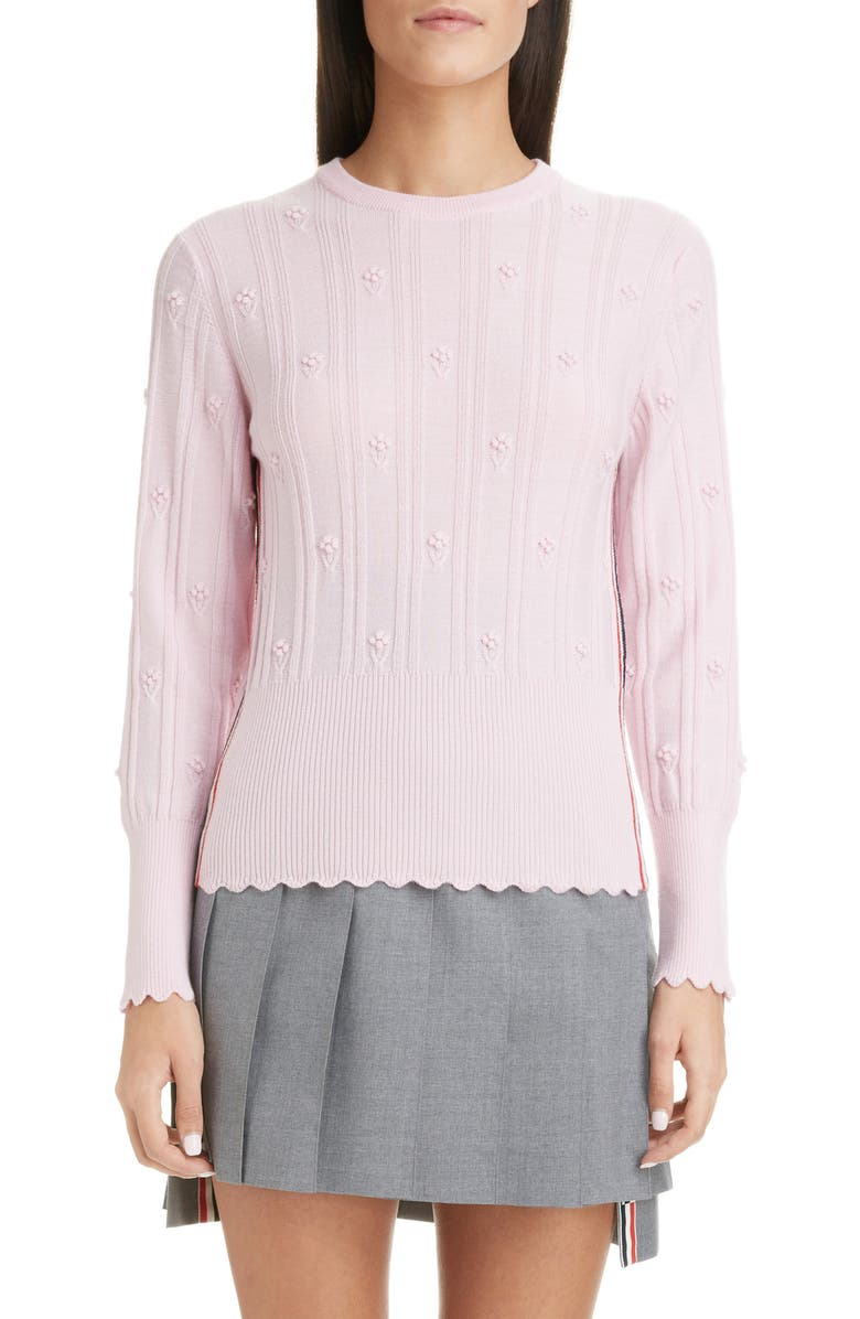 THOM BROWNE Floral Wool Sweater, Main, color, LIGHT PINK