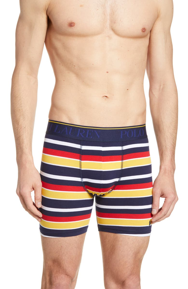 POLO RALPH LAUREN Stretch Cotton Boxer Briefs, Main, color, CRUISE NAVY STRIPE