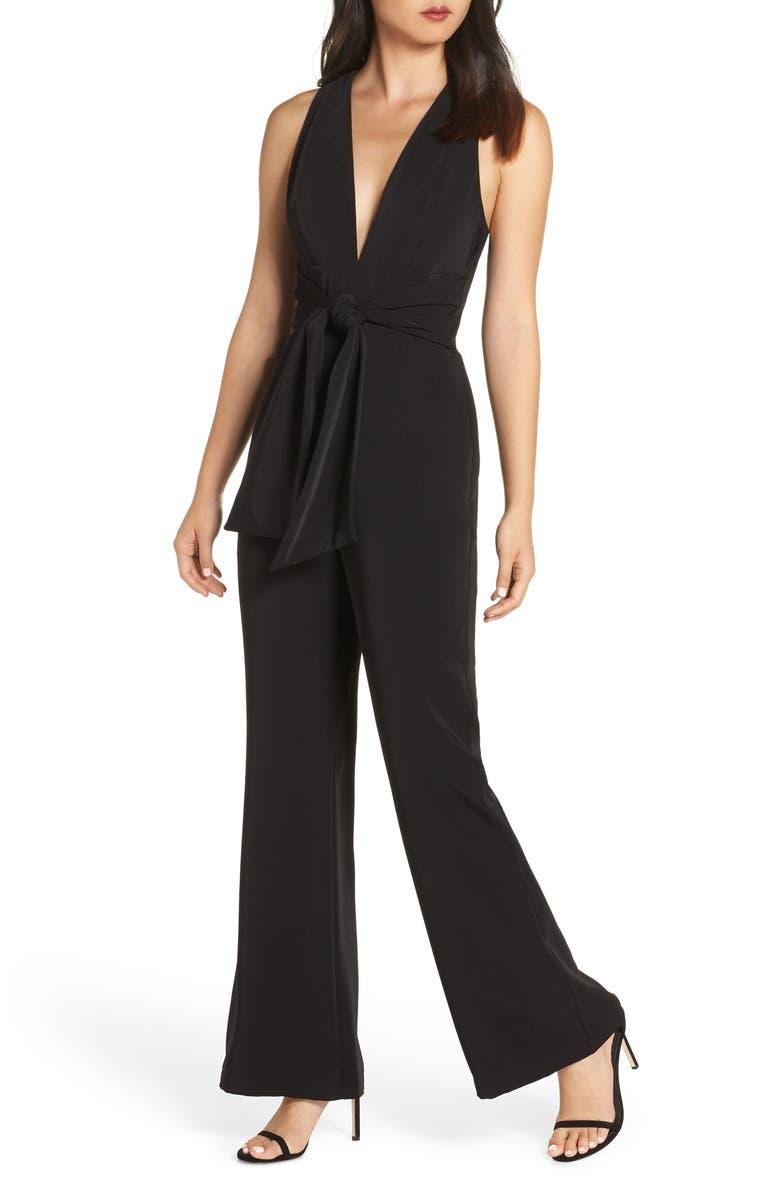 HARLYN Plunge Neck Tie Waist Jumpsuit, Main, color, 001