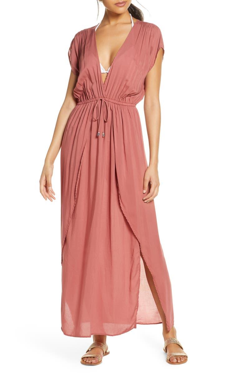 ELAN Deep V-Neck Cover-Up Maxi Dress, Main, color, MAUVE