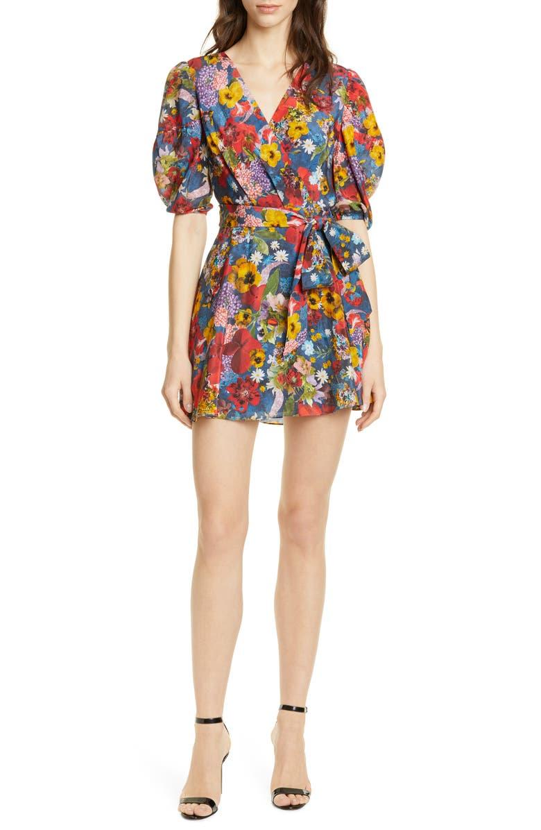 ALICE + OLIVIA Kerri Wrap Dress, Main, color, COLORFUL BLOSSOM RIVIERA