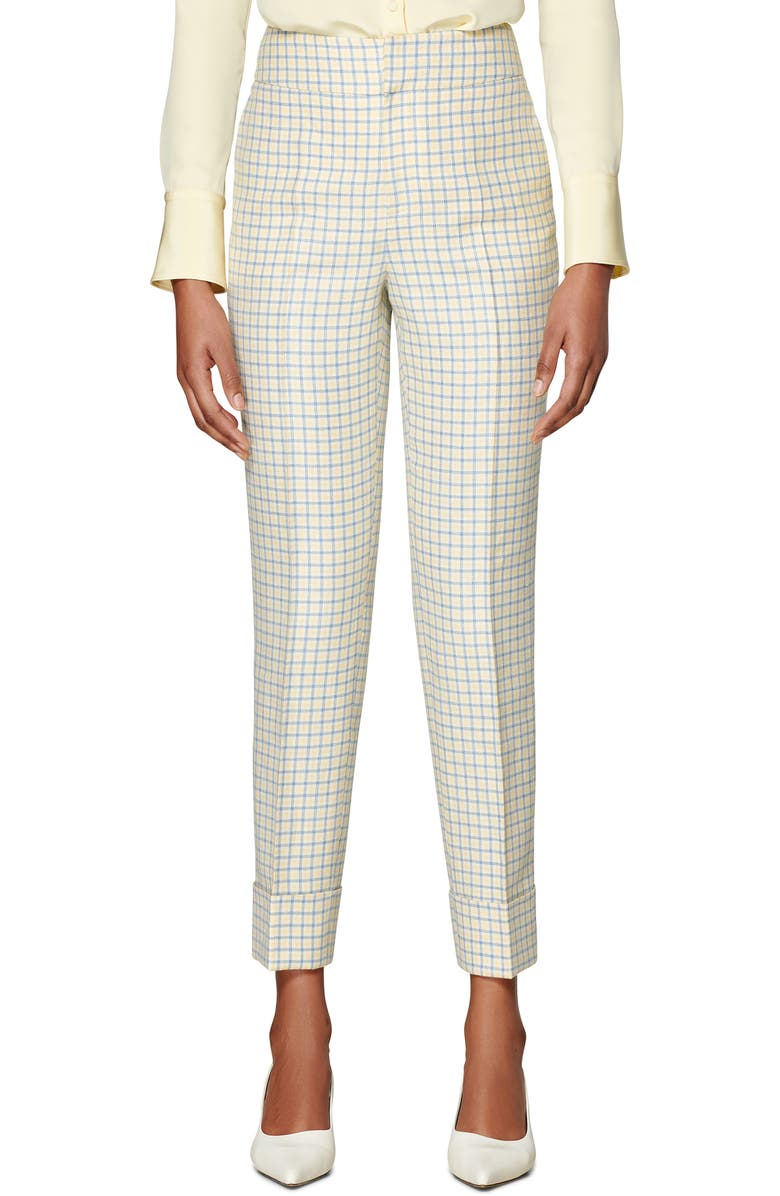 SUISTUDIO Lane Cuffed Check Trousers, Main, color, YELLOW/ LIGHT BLUE CHECKED