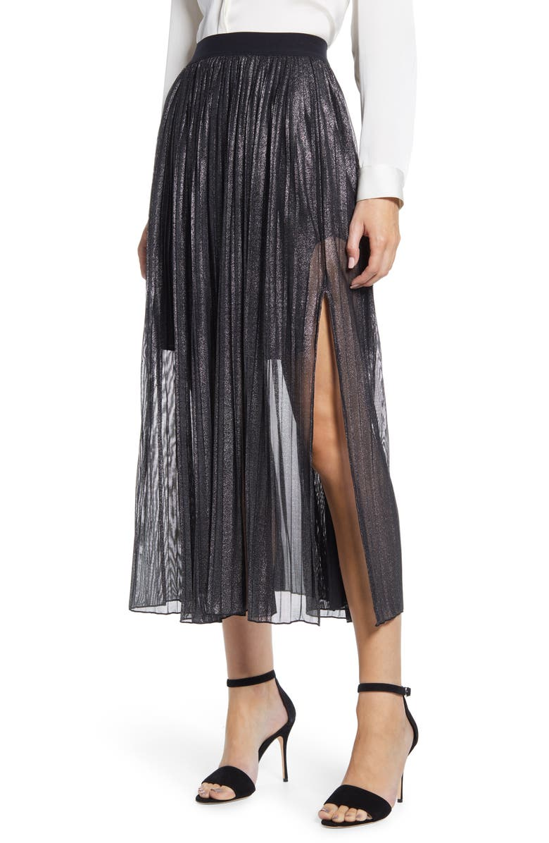 SANCTUARY Timeless Pleated Midi Skirt, Main, color, 001