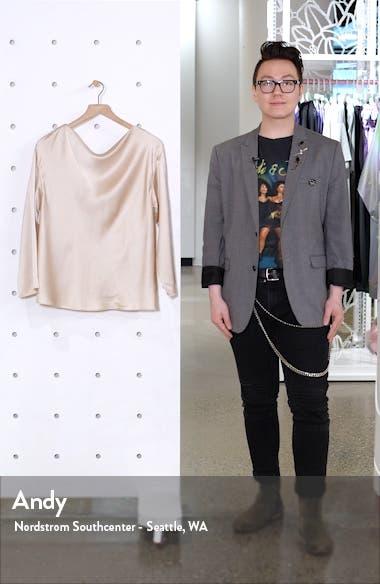 Side Drape Long Sleeve Silk Blouse, sales video thumbnail