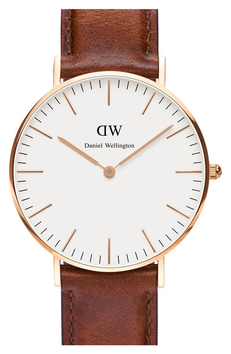 DANIEL WELLINGTON 'Classic St. Mawes' Leather Strap Watch, 36mm, Main, color, 200