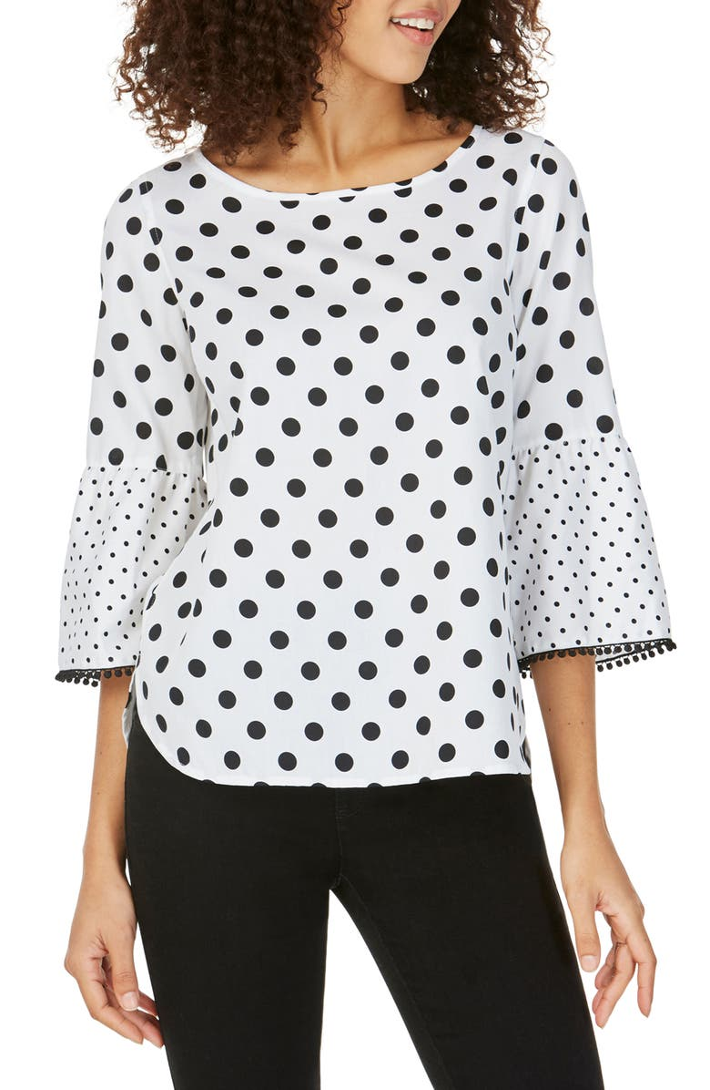FOXCROFT Rory Mixed Dot Top, Main, color, BLACK