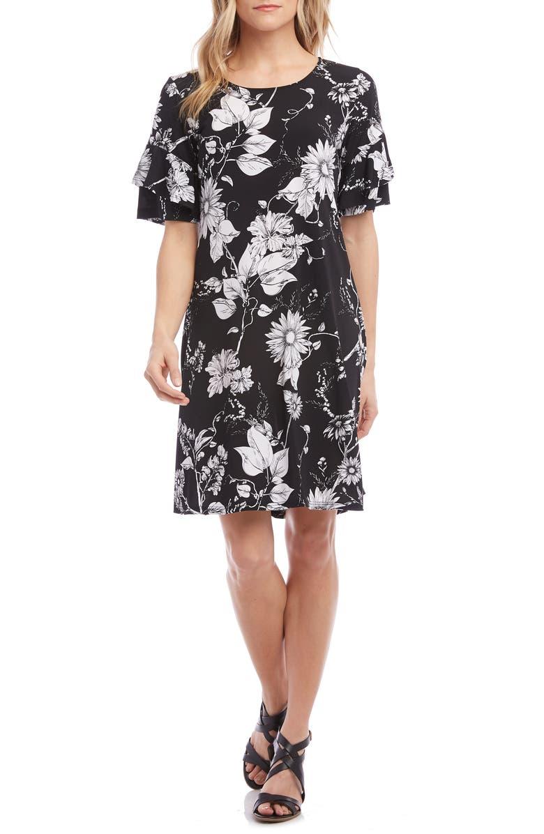 KAREN KANE Ruffle Sleeve Shift Dress, Main, color, PRINT