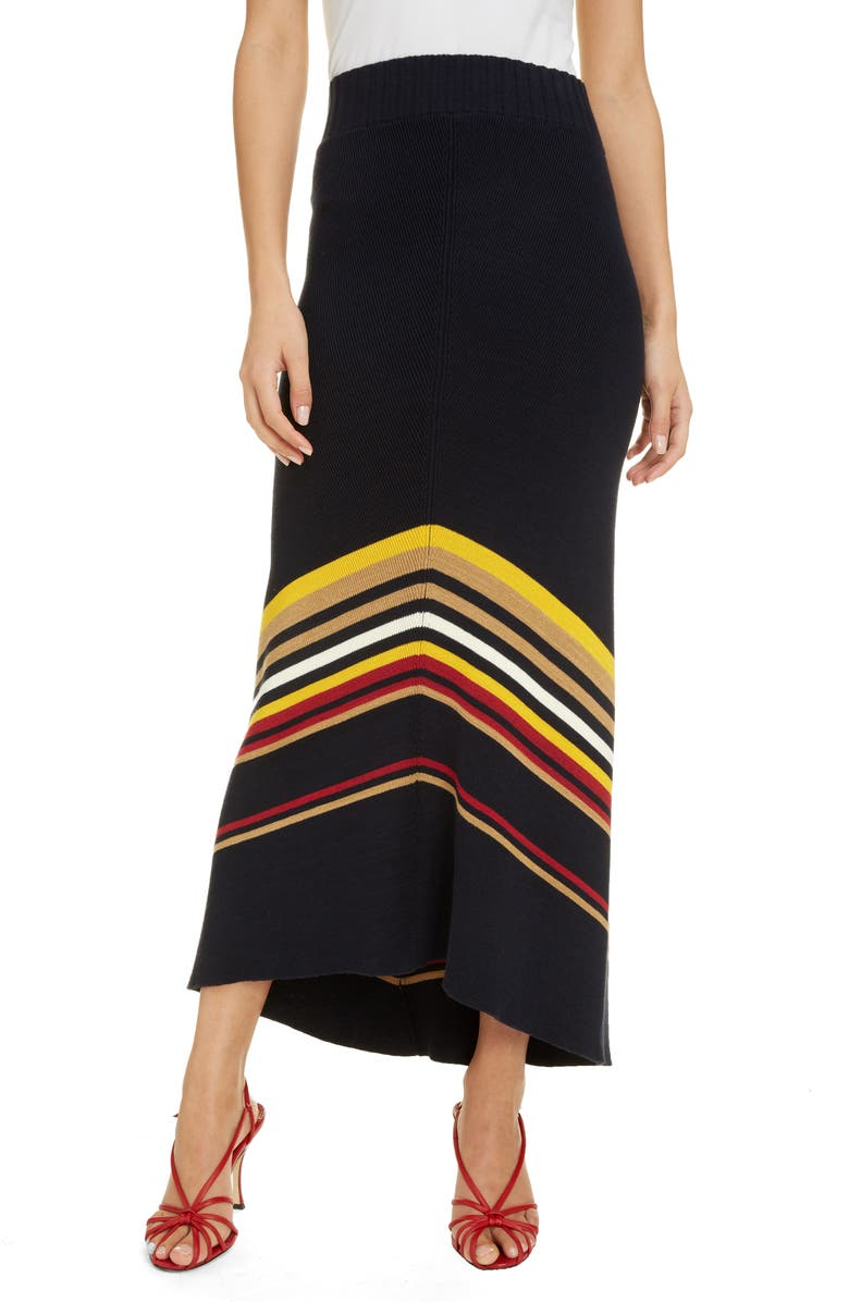 VICTORIA BECKHAM Stripe Hem Maxi Sweater Skirt, Main, color, NAVY/ CAMEL MULTI