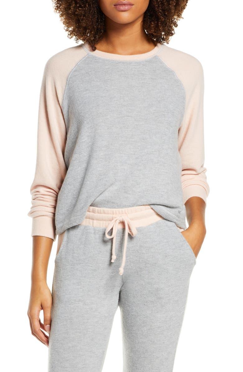 PROJECT SOCIAL T Chelsea Colorblock Raglan Sleeve Sweatshirt, Main, color, HEATHER GREY / CAMEO ROSE