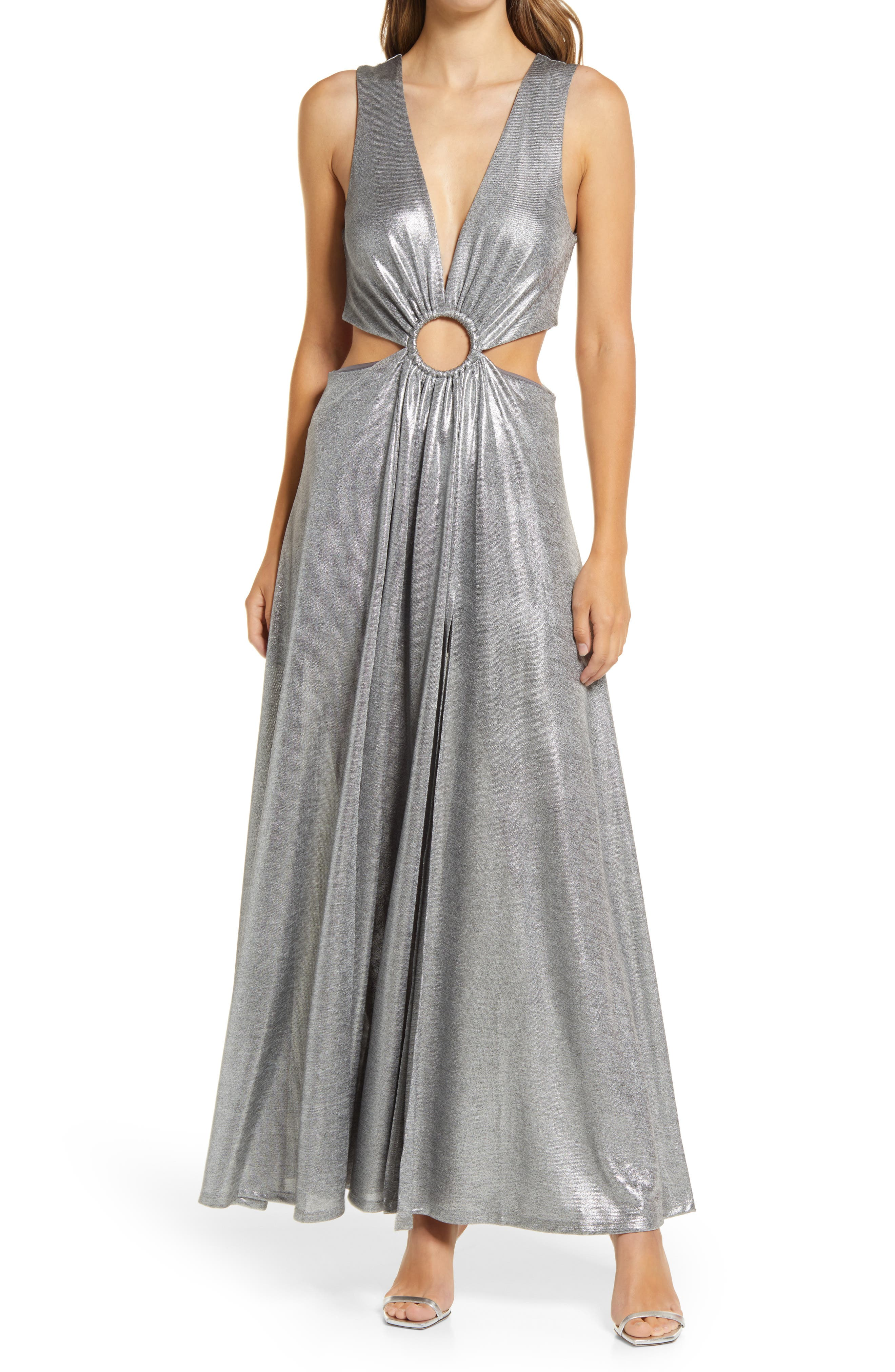 Ring Detail Sparkle Knit Cutout Gown