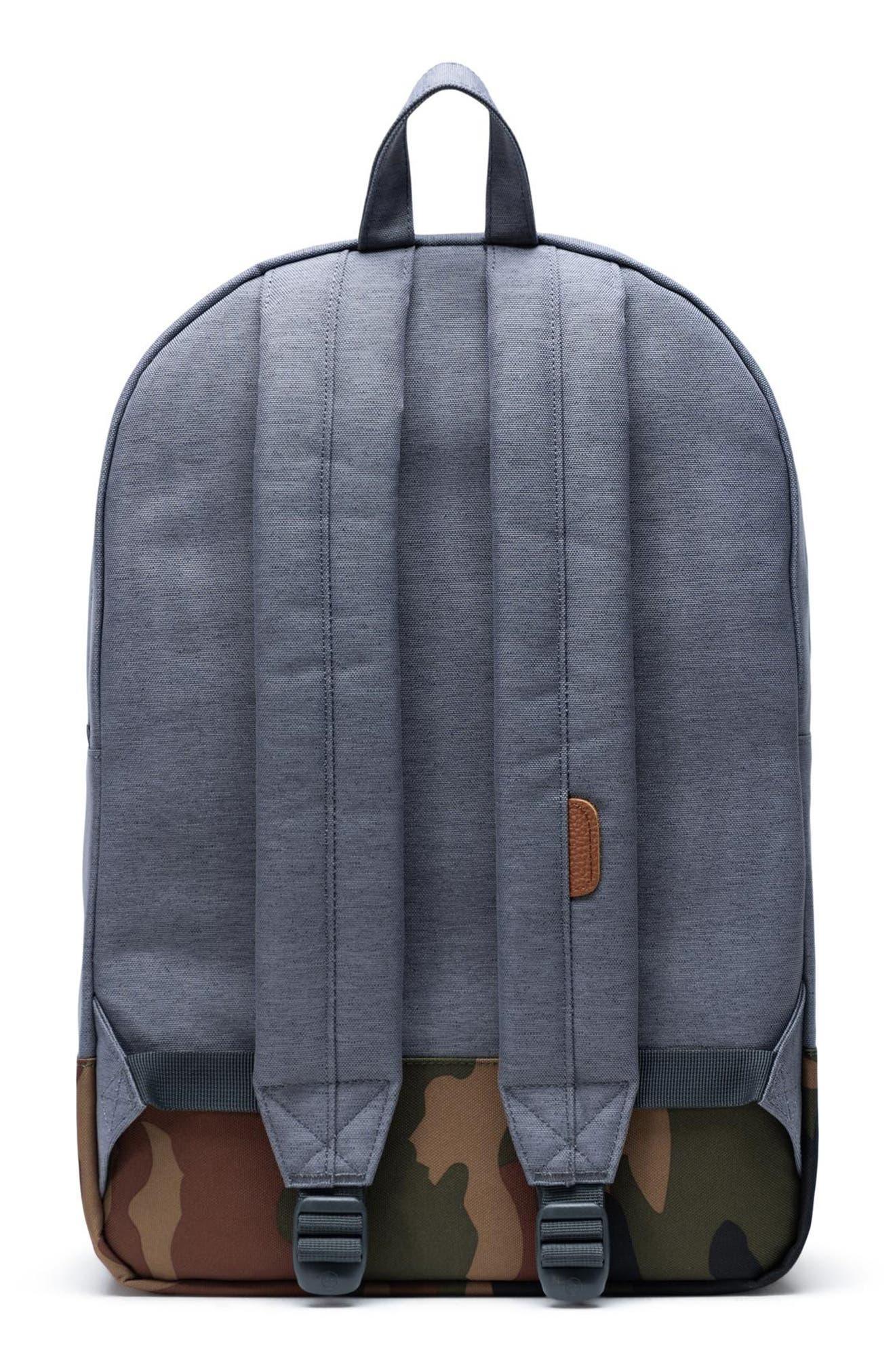 ,                             Heritage Camo Trim Backpack,                             Alternate thumbnail 4, color,                             GREY CROSSHATCH/WOODLAND CAMO