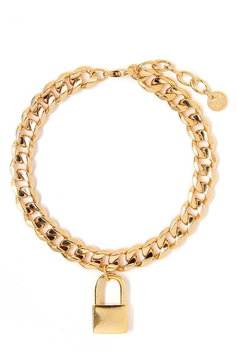 TESS + TRICIA Lock Bracelet, Main, color, GOLD