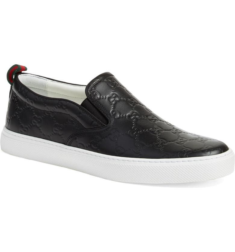 GUCCI Dublin Slip-On Sneaker, Main, color, NERO EMBOSSED LEATHER